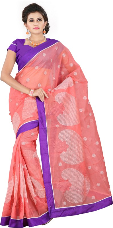Weavedeal Embellished, Embroidered Bollywood Cotton, Net Saree(Pink)
