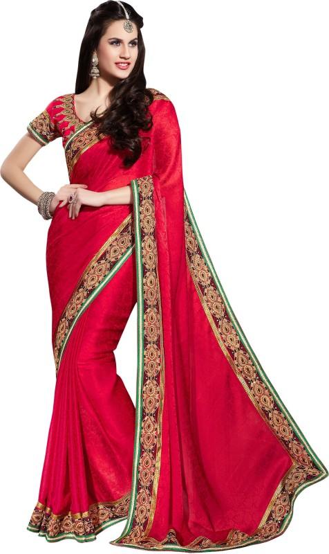 Khushali Self Design Fashion Cotton Blend Saree(Red)