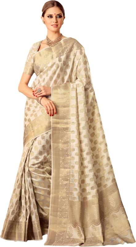 M.S.Retail Self Design Kanjivaram Silk Saree(White)