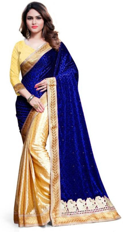 Sonu Creation Embellished Bollywood Velvet Saree(Multicolor)