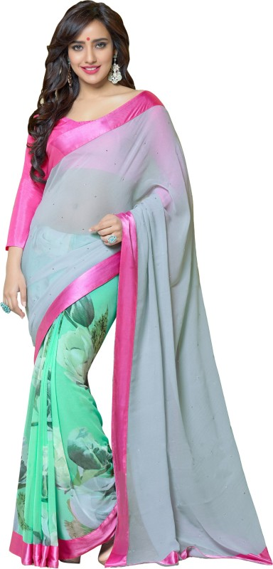 Khoobee Self Design, Printed, Embellished Fashion Georgette Saree(Grey, Light Green, Multicolor)