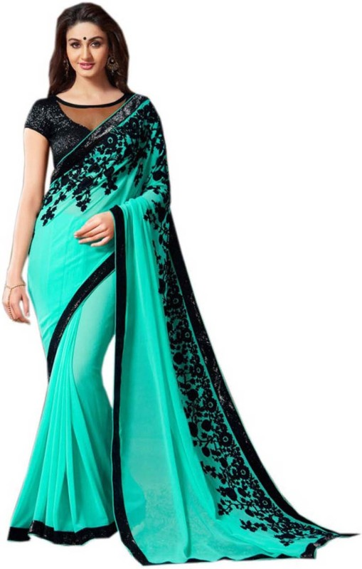 Vembro Embellished Bollywood Art Silk Saree(Green)