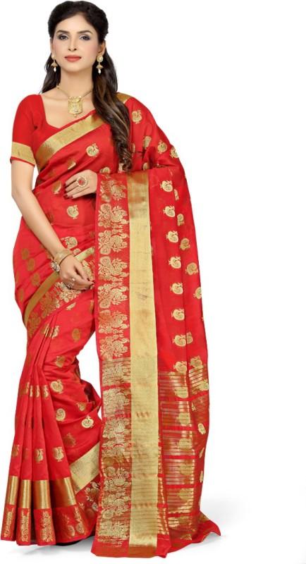 Rani Saahiba Self Design Chanderi Art Silk Saree(Red)