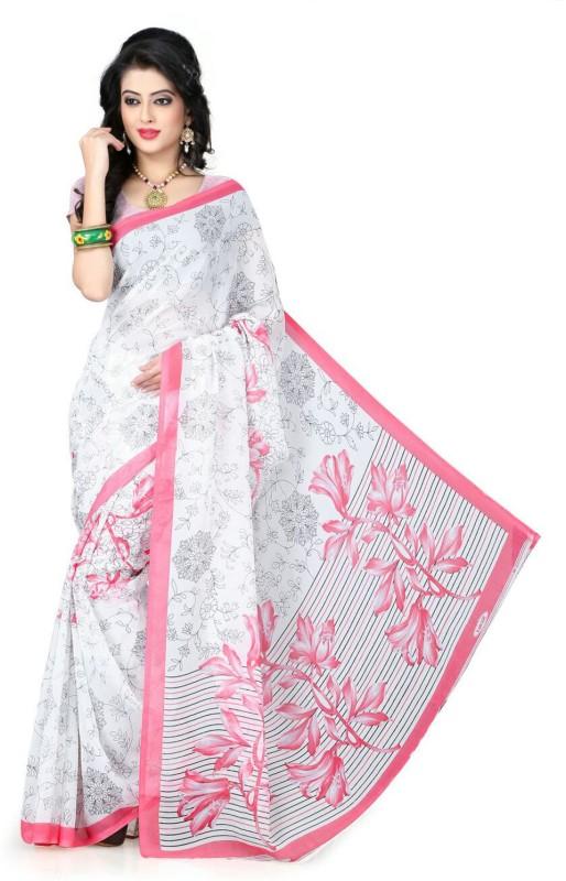 Ishin Printed Fashion Poly Georgette Saree(White)