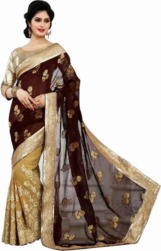 Desi Look Self Design Fashion Georgette Saree(Beige)