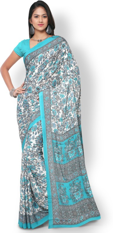 Triveni Printed Fashion Crepe, Silk Saree(White)