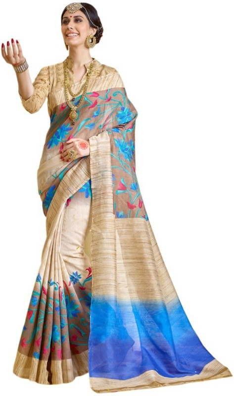 AJS Self Design, Floral Print, Striped, Printed Bollywood Banarasi Silk Saree(Multicolor)