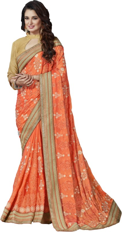M.S.Retail Embroidered Fashion Synthetic Georgette Saree(Orange)