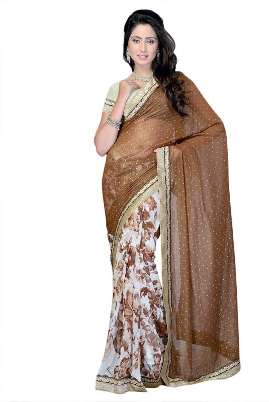 Suvastram Printed Fashion Chiffon Saree(Brown)