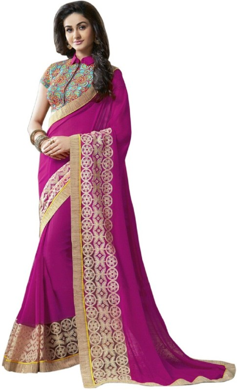 FabPandora Embroidered Fashion Georgette Saree(Pink)