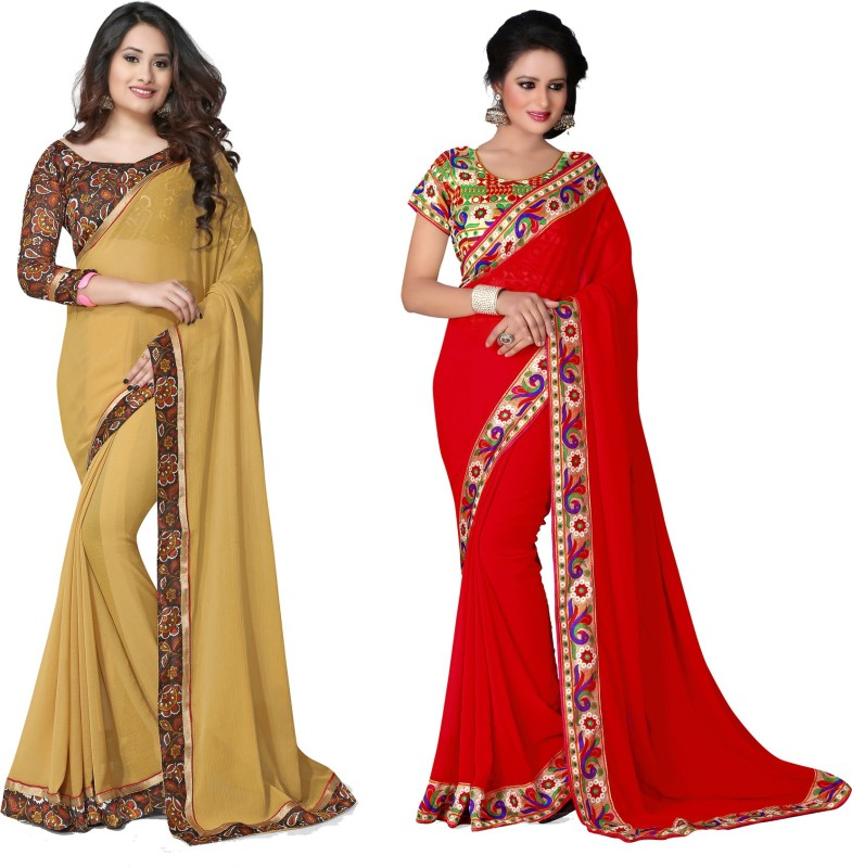 Indianbeauty Self Design, Solid, Printed Bollywood Chiffon Saree(Pack of 2, Red, Beige)