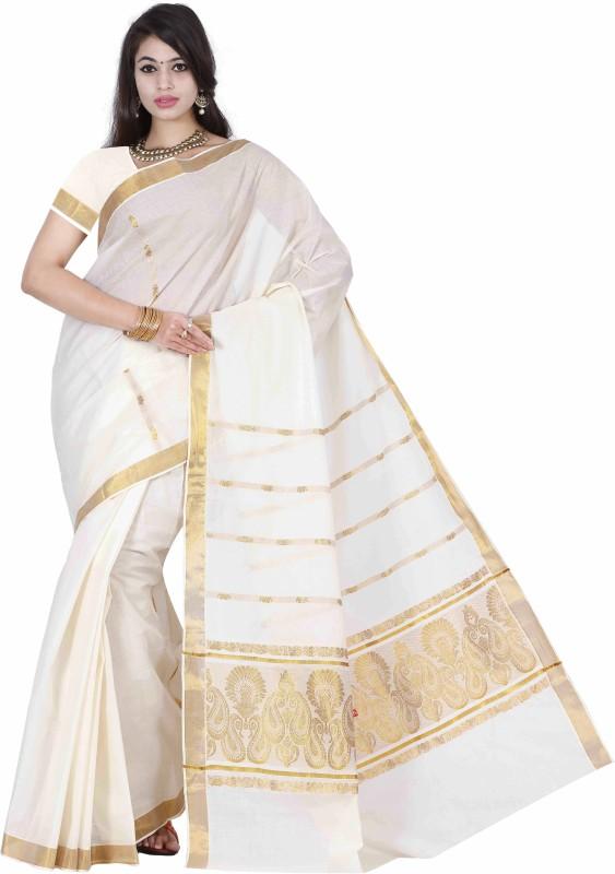 Right Shape Solid Fashion Handloom Cotton Saree(White)