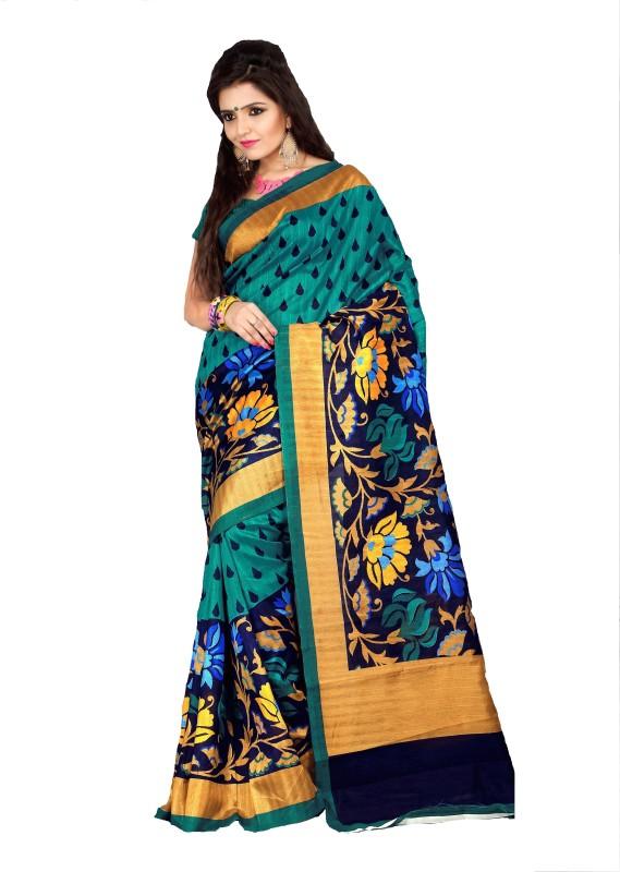 AJS Geometric Print Fashion Art Silk Saree(Multicolor)