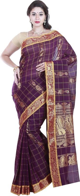 SriSyndicate Striped Fashion Cotton Saree(Maroon)