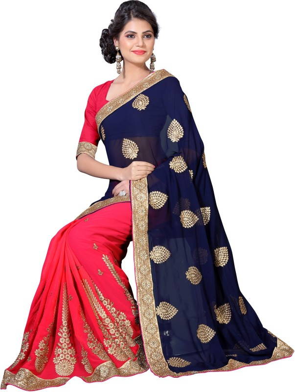 Oomph! Embroidered, Embellished, Solid Fashion Georgette Saree(Multicolor)
