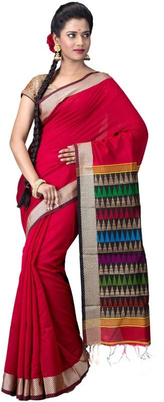 Ritoja Woven Phulia Handloom Silk Saree(Red, Multicolor)