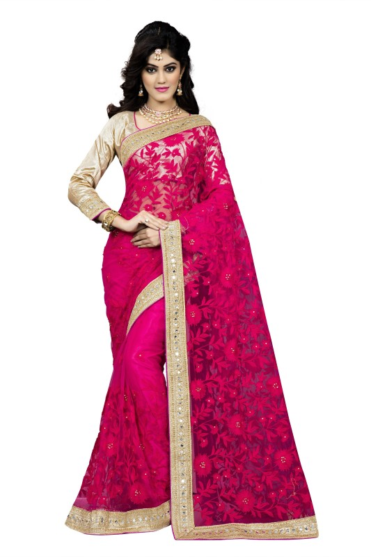 Rola Trendz Embroidered, Self Design Bollywood Net Saree(Pink)
