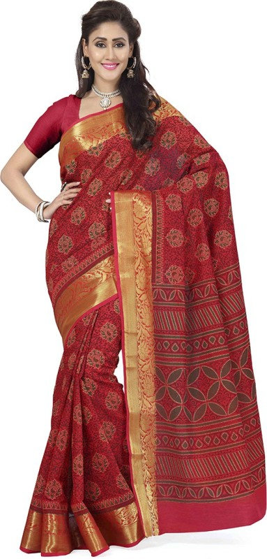Rani Saahiba Printed Gadwal Polycotton Saree(Red)