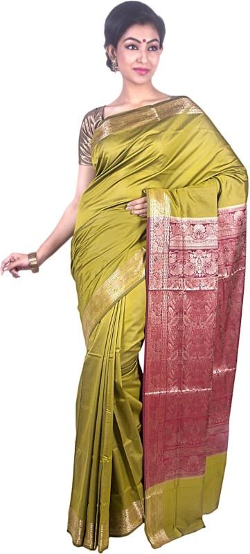 JagannathSaree Embellished Fashion Poly Silk Saree(Red, Green)