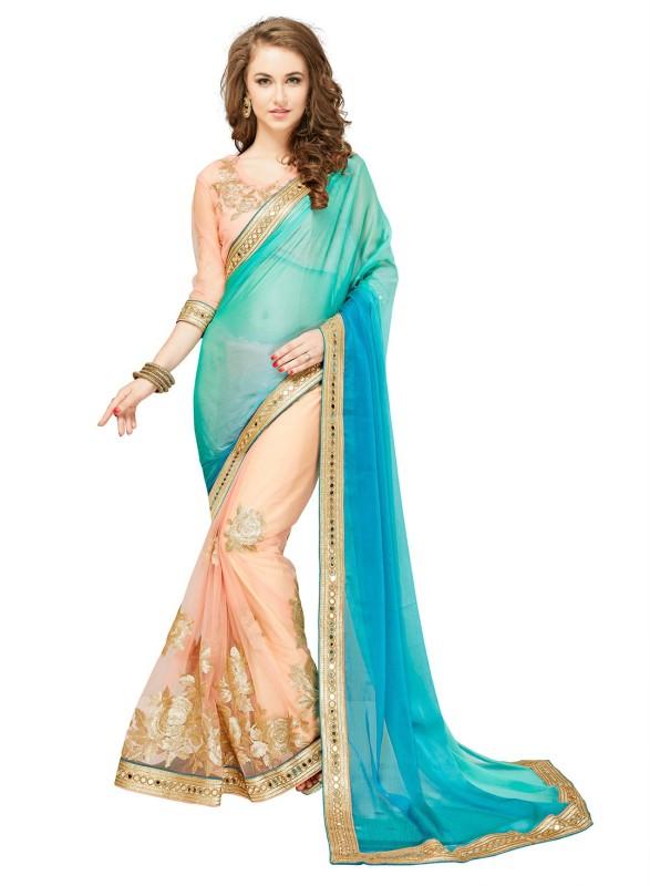 Glory Sarees Embroidered, Embellished Fashion Chiffon, Net Saree(Multicolor)
