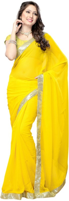 LaazreeFashion Embroidered Bollywood Georgette Saree(Yellow)