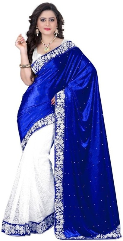 Sargam Fashion Self Design, Embellished Fashion Velvet, Net Saree(Blue, White)