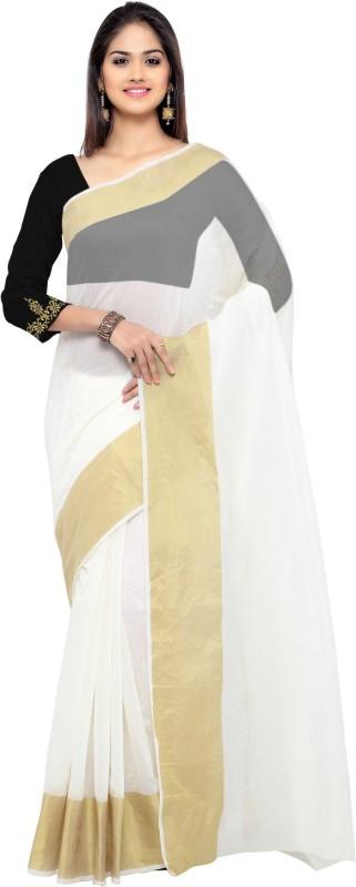 Bhuwal Fashion Solid Chanderi Silk Cotton Blend Saree(White, Gold)