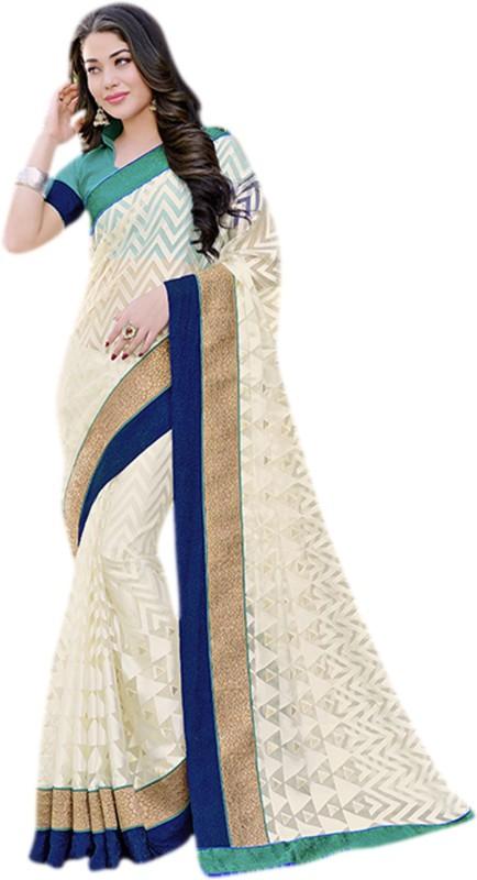 Vishal Printed, Embroidered Fashion Cotton Blend Saree(Beige)