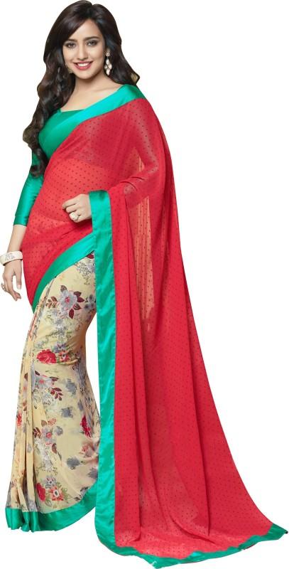 Khoobee Self Design, Printed Fashion Georgette Saree(Red, Multicolor)