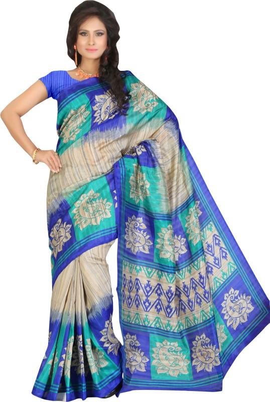 Khoobee Self Design, Printed Fashion Art Silk Saree(Beige, Multicolor)