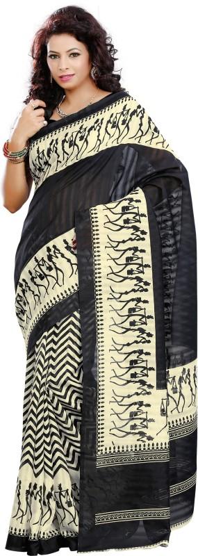 Khoobee Self Design, Printed Fashion Art Silk Saree(Beige, Black)