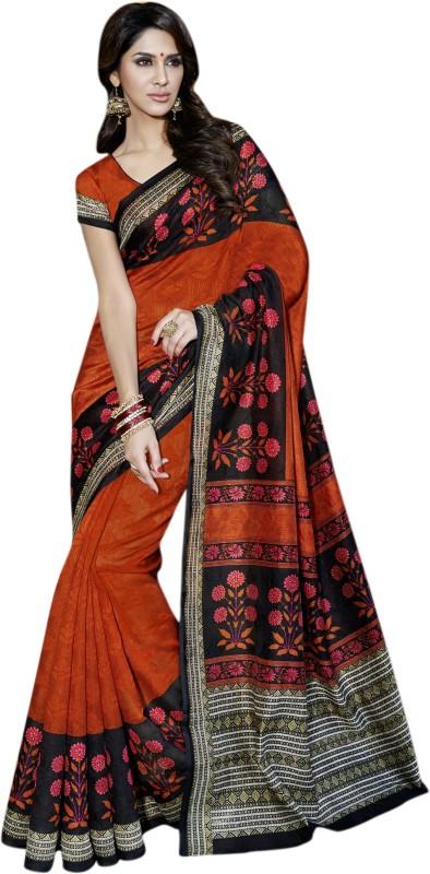 Vishal Printed Fashion Art Silk Saree(Orange)