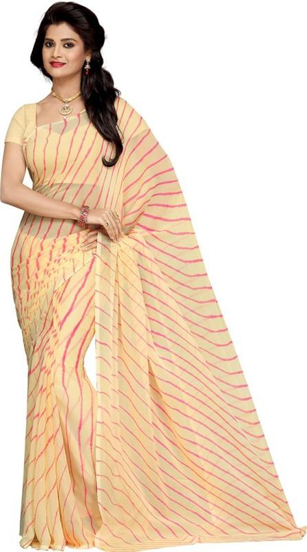 Rani Saahiba Printed Leheria Synthetic Chiffon Saree(Beige, Pink)