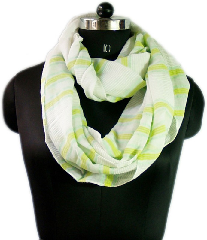 VR Designers Striped Cotton Viscose Blend Women Scarf