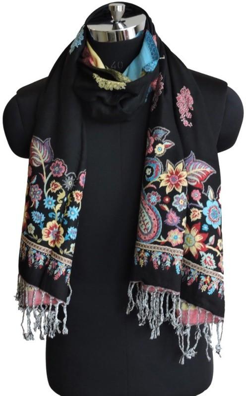 Weavers Villa Floral Print Viscose Womens Stole