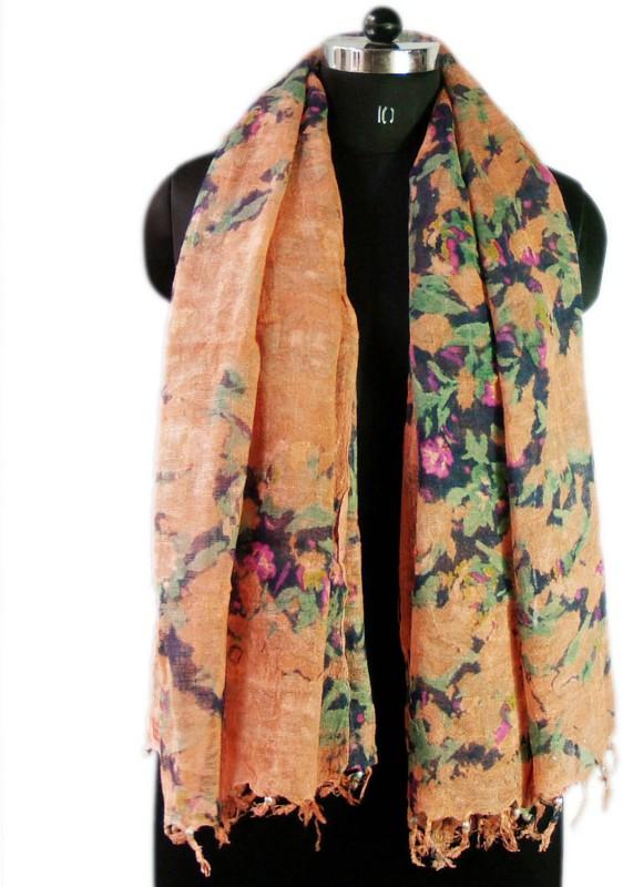 VR Designers Floral Print Cotton Linen Blend Women Stole