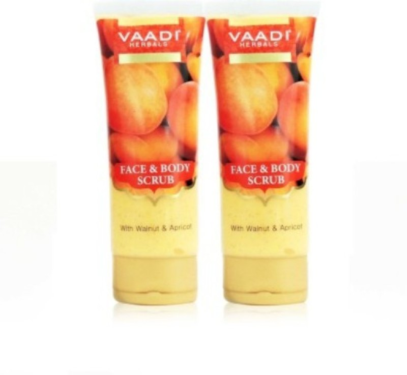 Vaadi Herbals Face & Body with Walnut & Apricot - Pack of 2 Scrub(220 g)