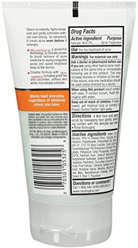 Neutrogena Acne Stress Control Power-Clear Scrub, 4.2 Fluid Ounce Scrub(100 ml)