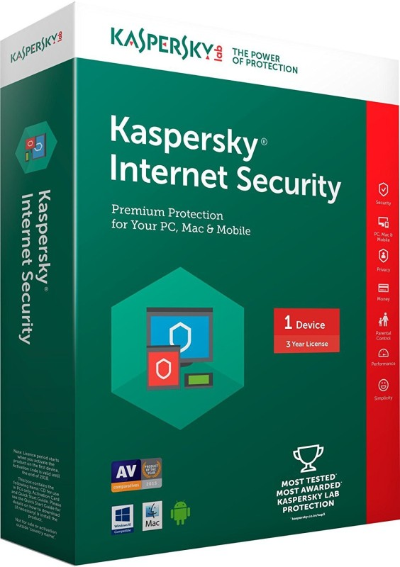 Kaspersky Internet Security 2017 1 Pc 3 year (1cd,1095days valid serial key Free Plastic Cd cover for Safe the cds From Scratch)