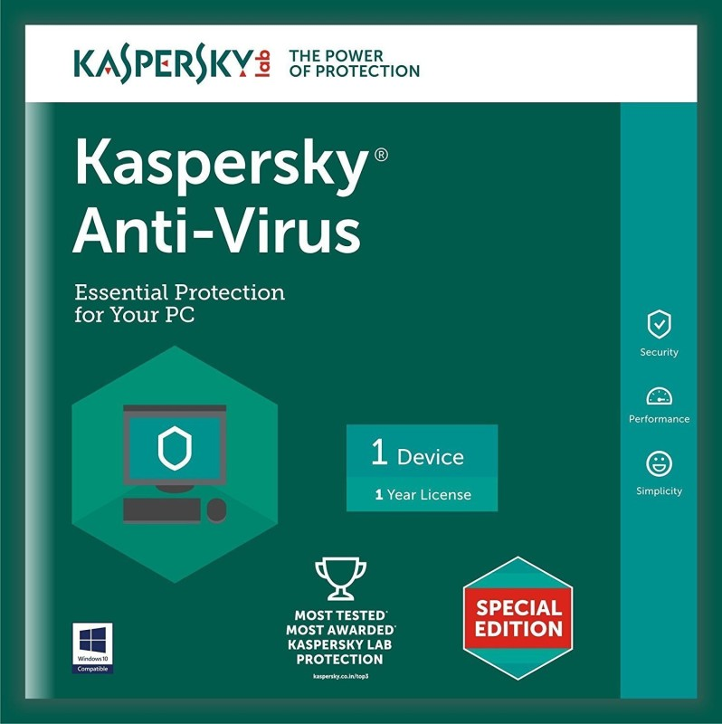 Kaspersky Antivirus Software 2016 New Slim Pack 1Pc 1Year(1Cd,365 Days Valid Serial Key Free Cd Cover For Safe the Cds From Scratch)