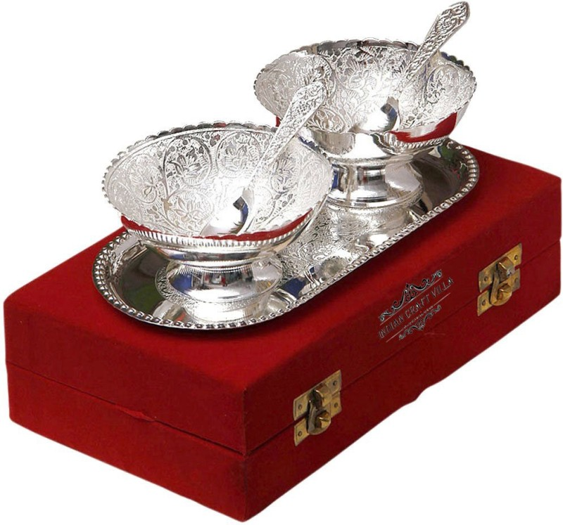 Indian Craft Villa ICV-CP-111 Bowl Spoon Tray Serving Set(Pack of 5)