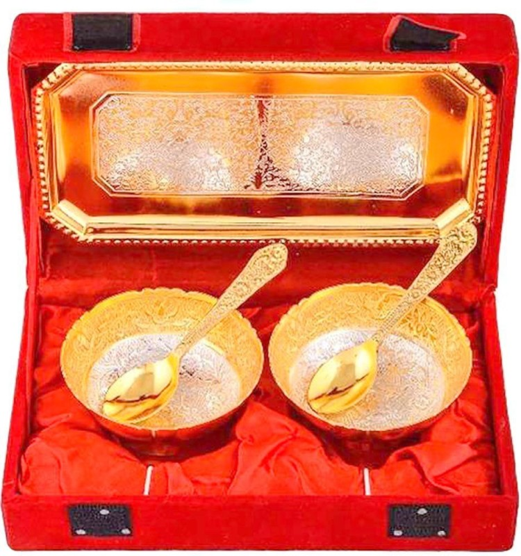 Indian Craft Villa Handmade Metal Snack Bowls, 5-Pieces, Gold with comes with...