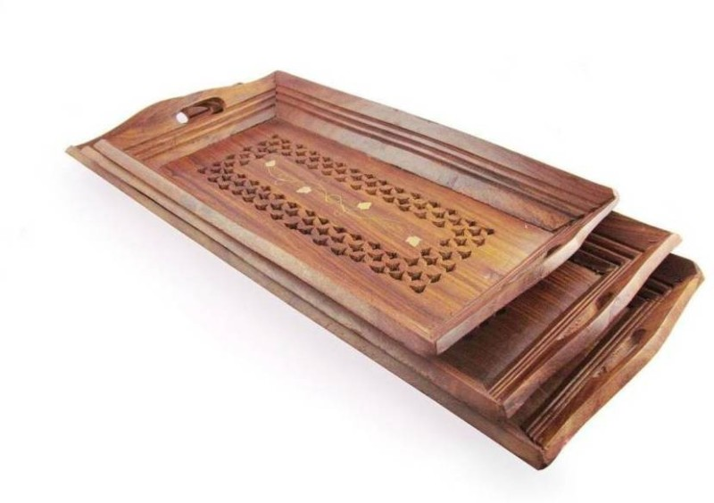 india wooden handicraft coffee tray set Cup Tray Serving Set(Pack of 3)
