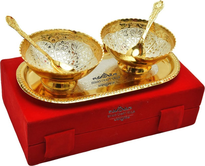 Indian Craft Villa ICV-CP-106 Bowl Spoon Tray Serving Set(Pack of 5)