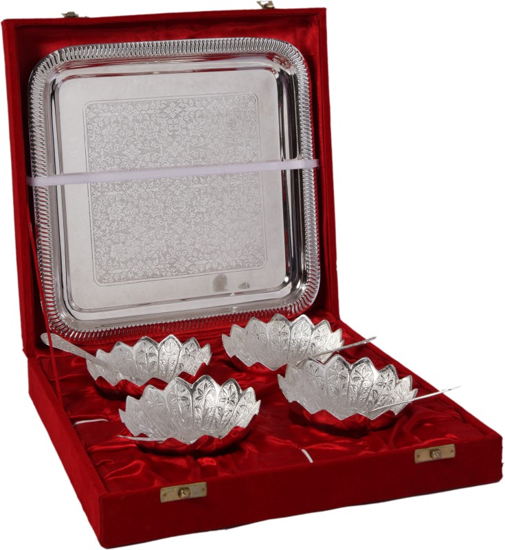 JT International German Silver Bowl Tray Serving Set(Pack of 9)