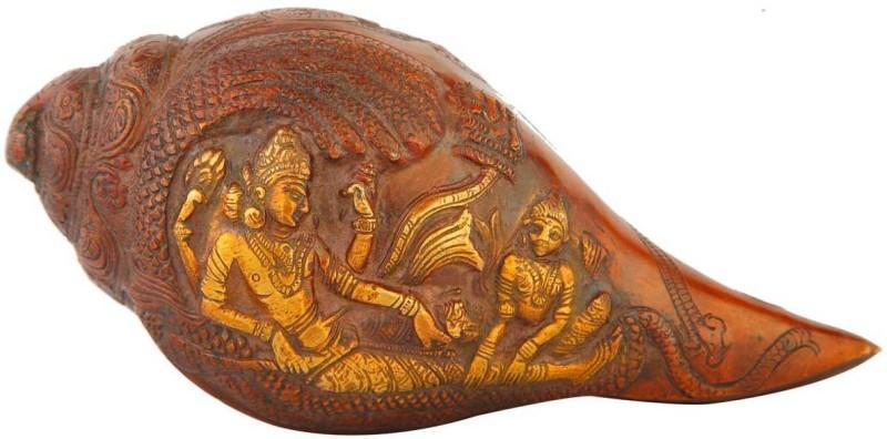 StatueStudio Vishnuji Engraved Decorative Shankh(Red)