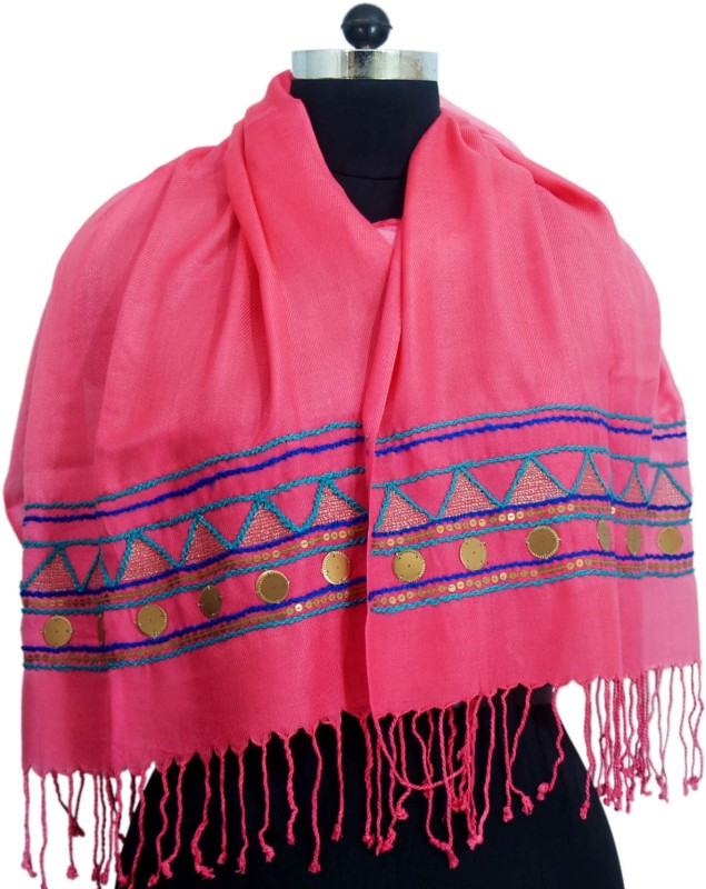 VR Designers Cotton Viscose Blend Embroidered Women Shawl(Pink)