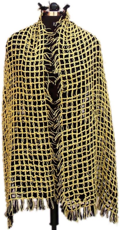 VR Designers Pure Wool Self Design Women Shawl(Black, Yellow)