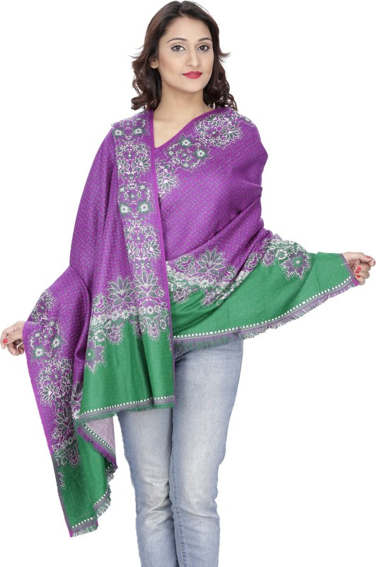 Indo Essence Wool Embroidered Women's Shawl(Multicolor)