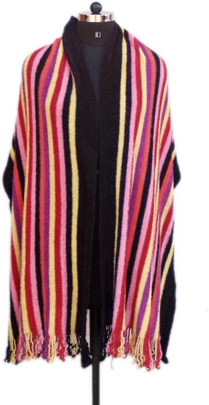 VR Designers Pure Wool Self Design Women Shawl(Multicolor)